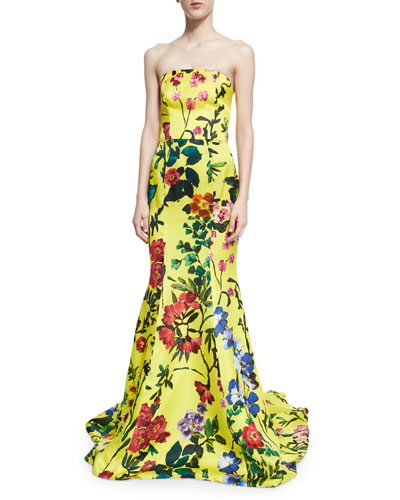 Strapless Garden Floral-Print Gown, Yellow Pattern