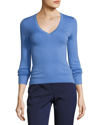 Knit Cashmere V-Neck Sweater, Blue