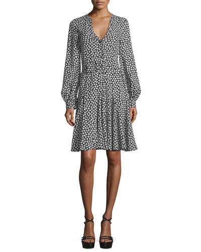 Floral-Print Georgette Dress, Black/White