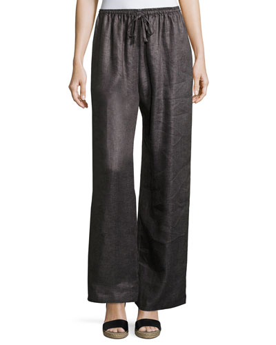 Linen Drawstring Wide-Leg Trousers