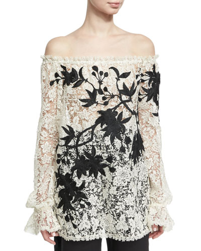 Off-the-Shoulder Embroidered Floral Lace Top, Black/White