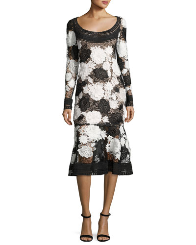 Two-Tone Floral Guipure Lace Flounce Dress, Black/White