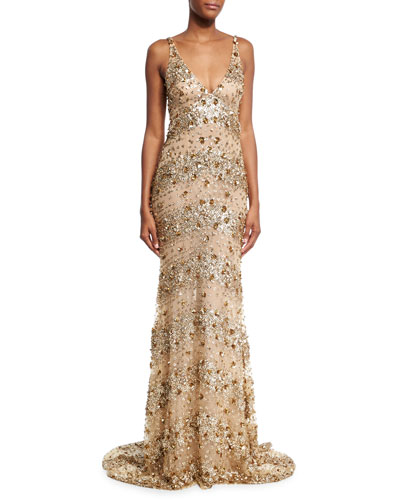 Beaded Tulle Cowl-Back Gown, Gold