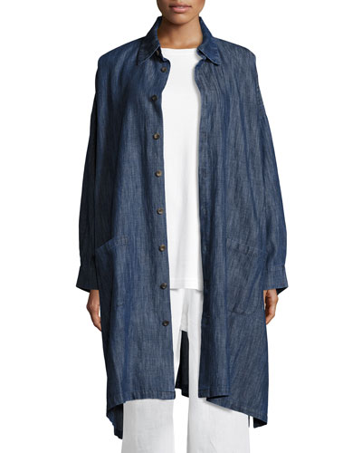 Long Cotton-Blend Shirt Jacket, Blue