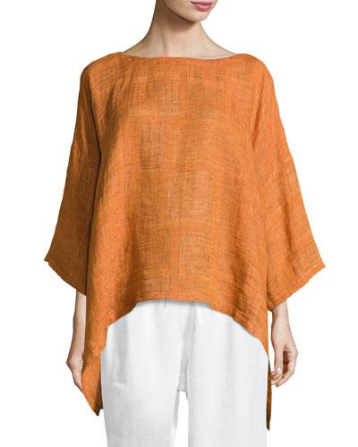 Boat-Neck Linen Tunic Top, Rust