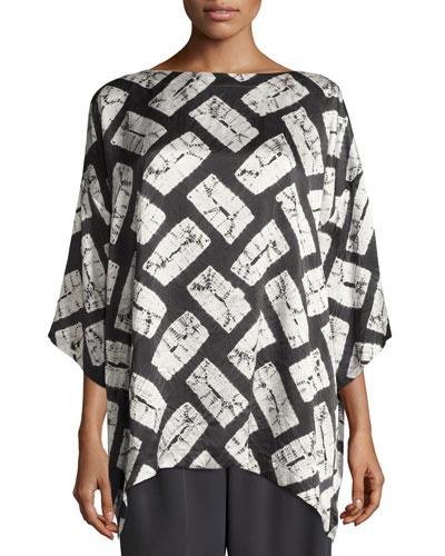 Rectangular Shibori Silk T-Shirt