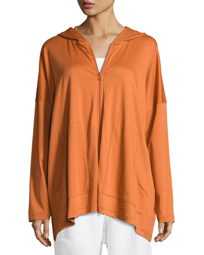 Hooded Pima Cotton Sweatshirt, Rust