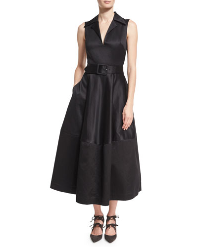 Sleeveless Sateen Belted Shirtdress, Black