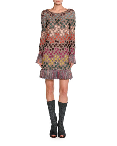 Long-Sleeve Lurex® Polka-Dot Shift Dress with Fringe, Multicolor