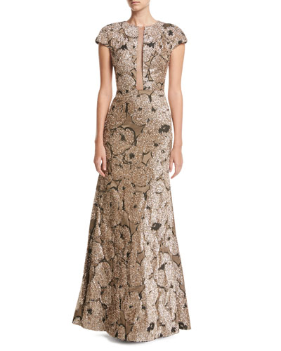 Metallic Tinsel Jacquard Tulle-Inset Column Gown with Detachable Brooch, Gold