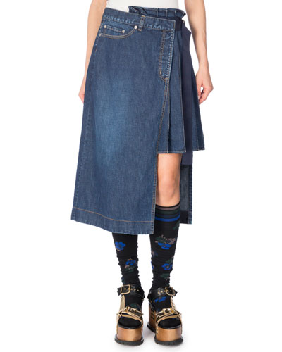 Asymmetric Side-Pleated Denim Skirt, Blue