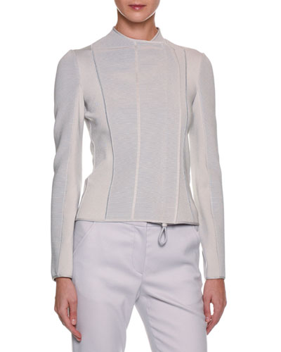 Ottoman Ribbed Short Jacket, Gray