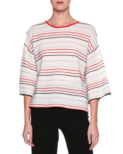 Striped Half-Sleeve Top, Multi