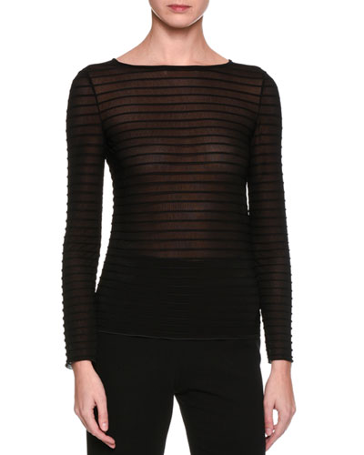 Long-Sleeve Ribbed Top, Black