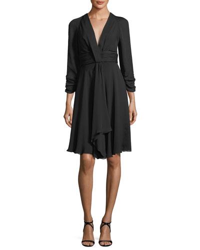 Ruched 3/4-Sleeve V-Neck Dress