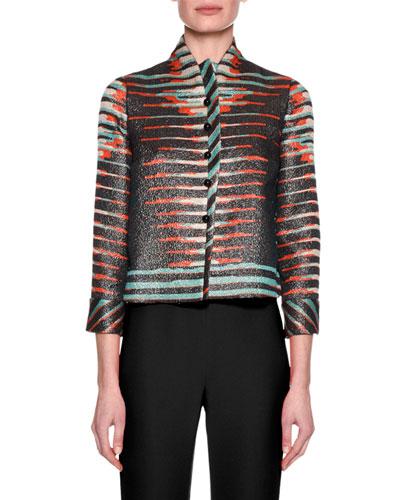 Printed Bracelet-Sleeve Jacket, Black Pattern