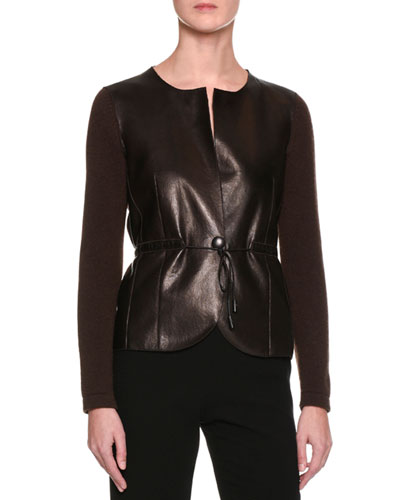 Cashmere Sweater w/Leather Front, Brown