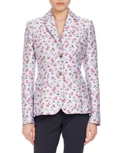 Fenice Floral-Print Two-Button Jacket, Multi