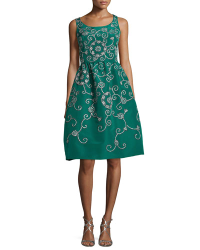 Embroidered Floral Scroll Full-Skirt Party Dress