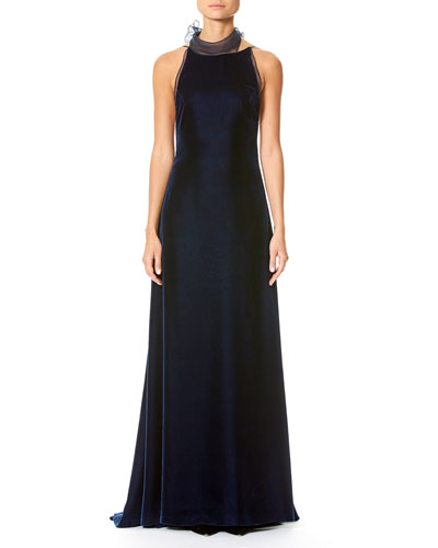Velvet Open-Back Gown with Organza Bow, Navy