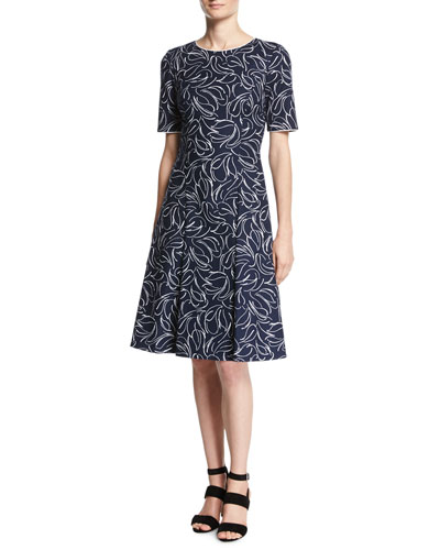 Short-Sleeve Floral Jacquard Dress, Blue/White