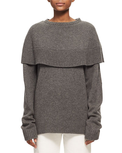 Crewneck Cashmere Capelet Sweater, Charcoal Black
