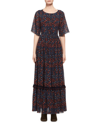 Half-Sleeve Floral Open-Back Maxi Dress, Blue Pattern