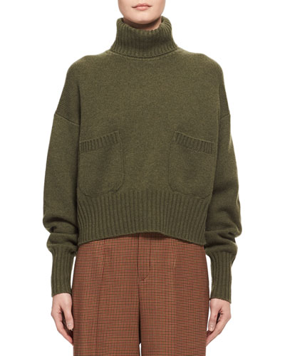 Cashmere Patch-Pocket Turtleneck Sweater