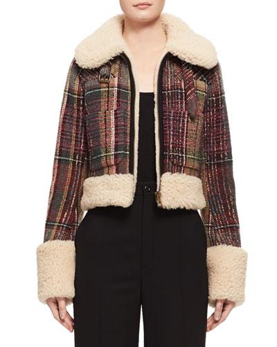 Tweed Check Shearling-Lined Jacket, Multi