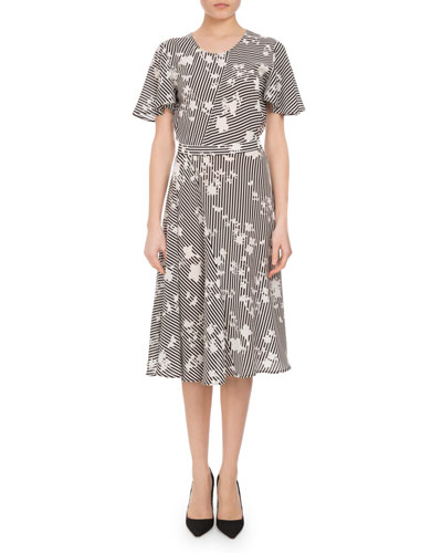 Dorothea Floral Stripe Flutter-Sleeve Dress, Multi