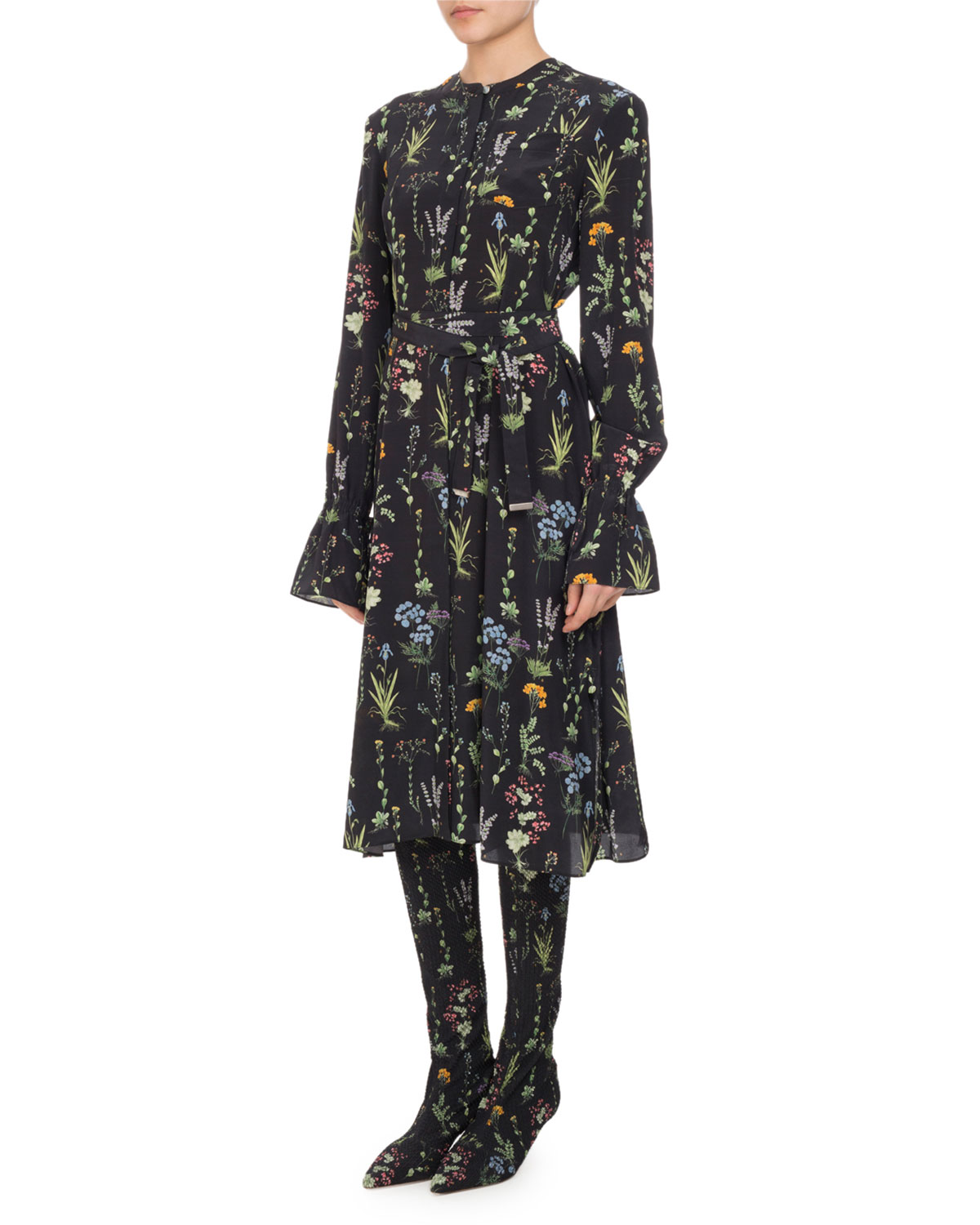 Leighton Floral-Print Ruffle-Cuff Dress, Multi