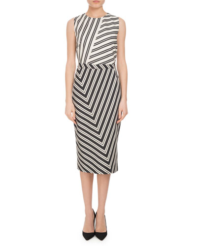Desdemona Mixed Stripe Sheath Dress, Multi