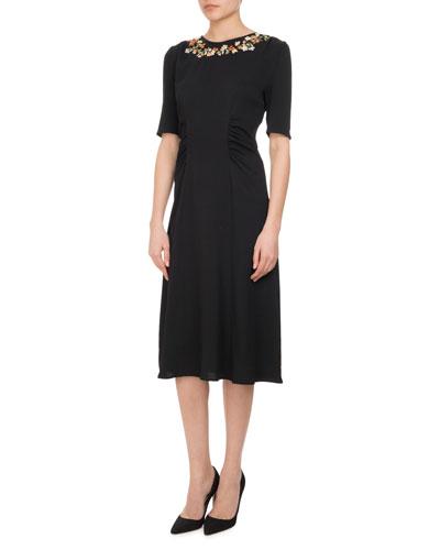Sylvia Floral-Embroidered Half-Sleeve Midi Dress