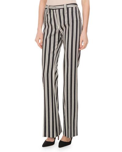 Serge Striped Straight-Leg Pants, Multi