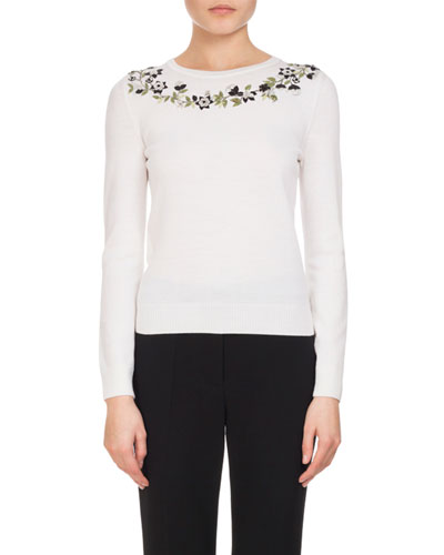 Hermione Embroidered Merino Wool Sweater, White