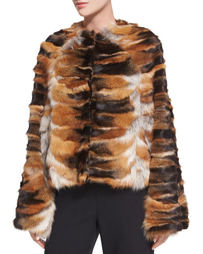 Bell-Sleeve Chubby Fox Fur Coat, Brown/Red
