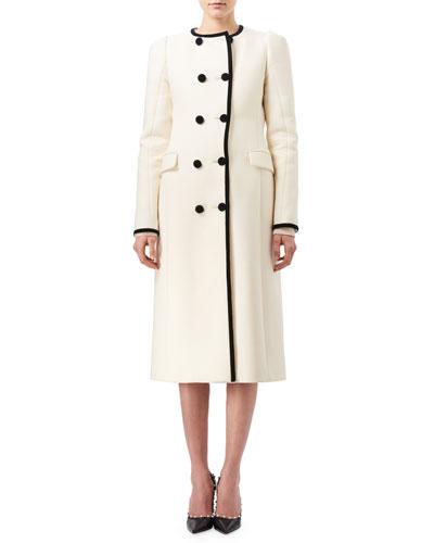 Bellasio Double-Breasted Coat with Contrast Velvet Trim, Black