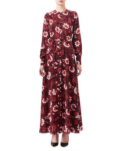 Melia Floral Silk Button-Front Maxi Dress