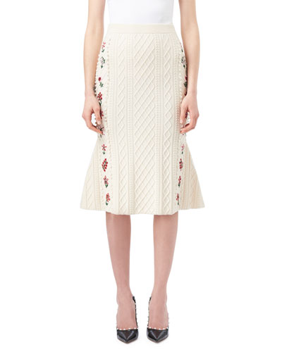 Letta Cable-Knit Midi Flounce Skirt with Floral Embroidery, White