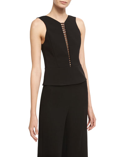 Sculpted Sleeveless Top with Ladder Inset, Black