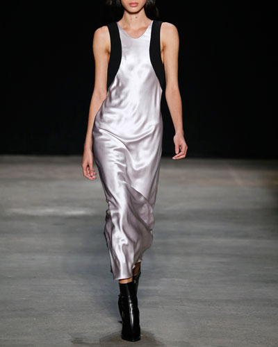 Contrast-Trim Satin Column Gown, Languid Iris/Black