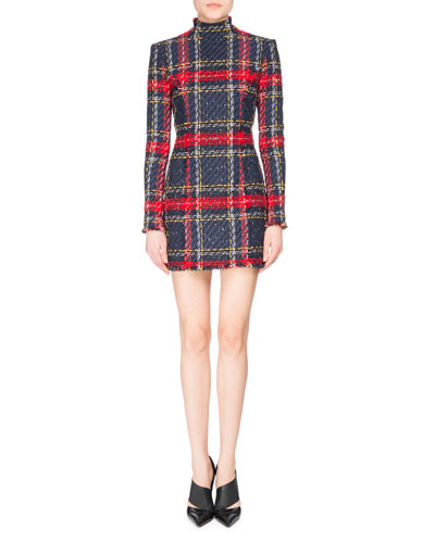 Plaid Mock-Neck Mini Dress, Red/Blue