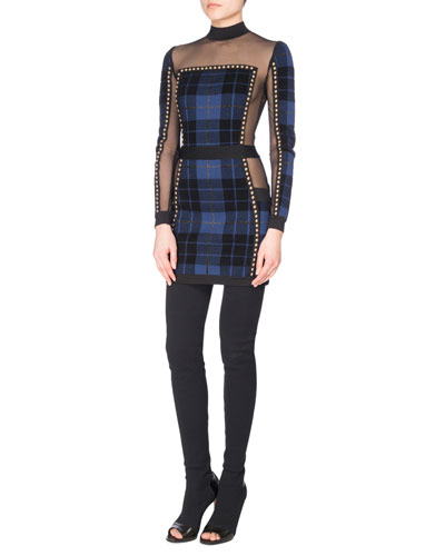 Studded Tartan Illusion Mini Dress, Black/Blue