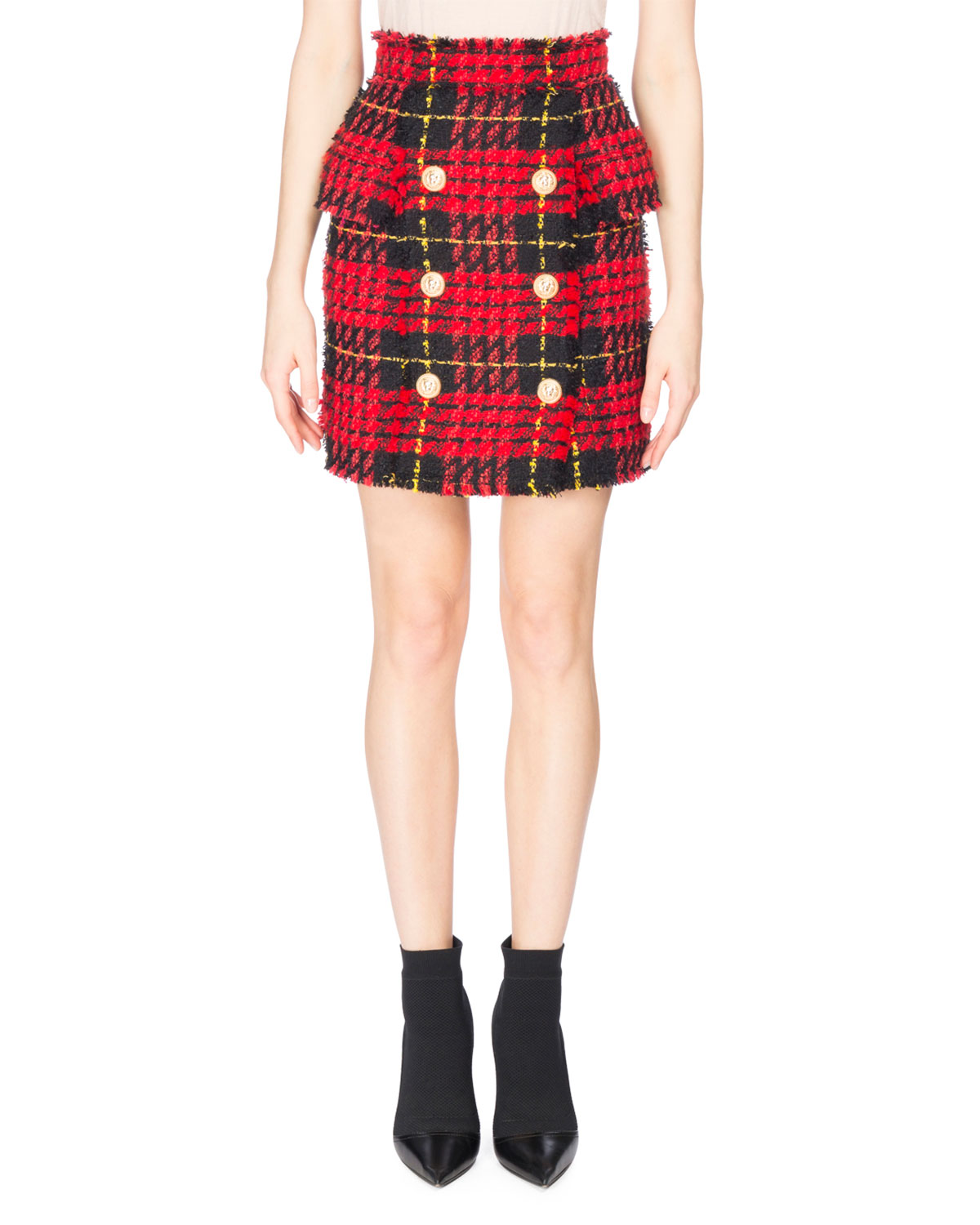 High-Waist Tartan Tweed Skirt, Red/Black