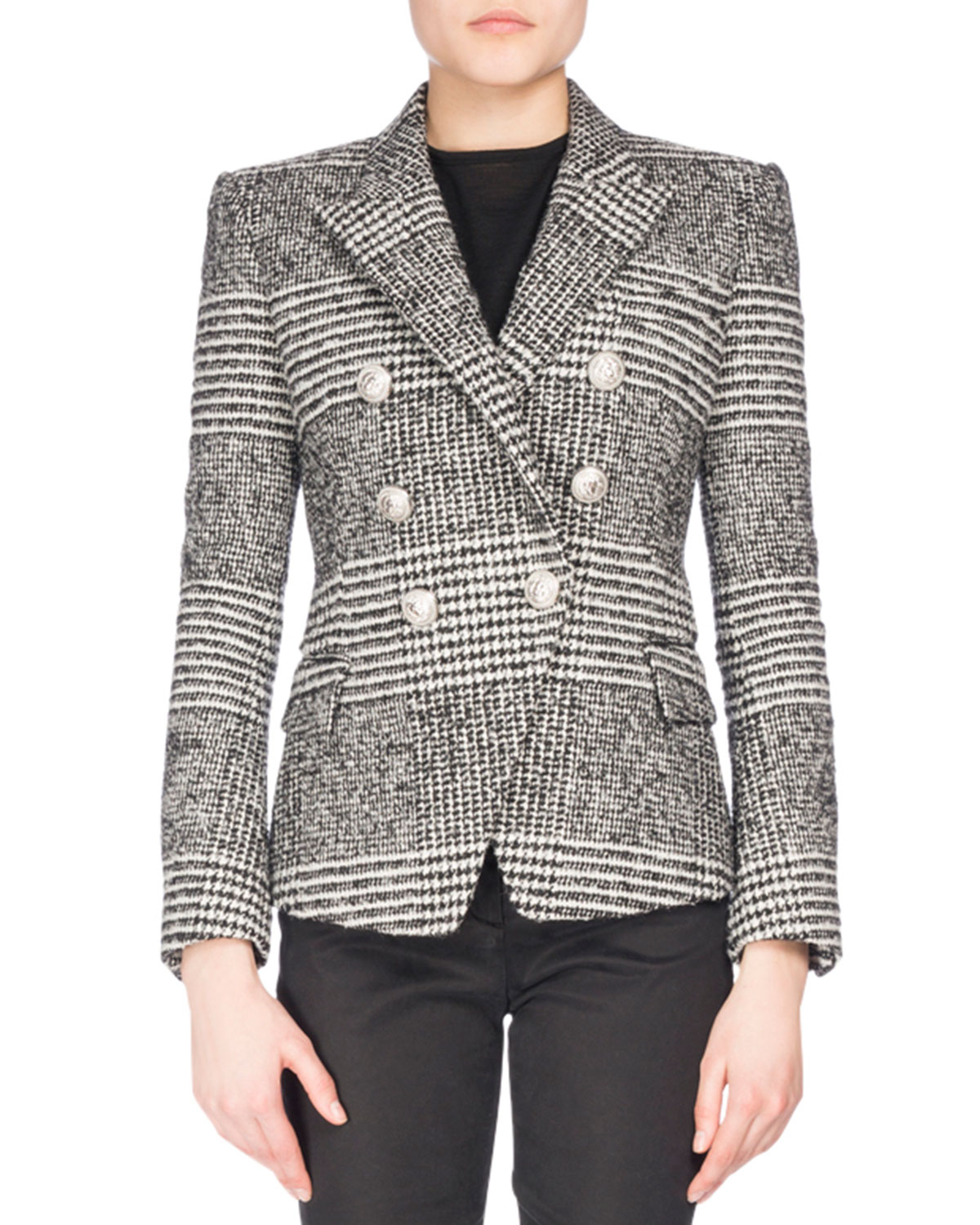 Classic Plaid Tweed Jacket, Black/White