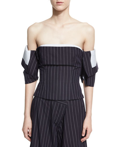 Off-Shoulder Pinstriped Corset Top, Navy