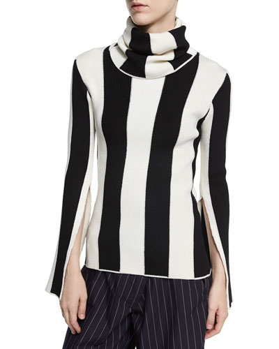 Striped Split-Sleeve Turtleneck Sweater, Black/White