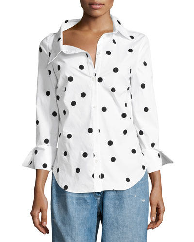 Polka Dot Stretch-Cotton Blouse, White/Black