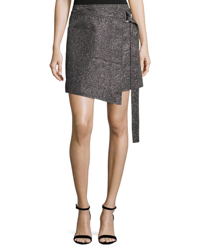 Metallic Wrap-Front Mini Skirt, Silver