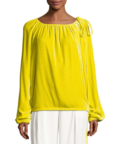 Velvet Long-Sleeve Tie-Shoulder Top, Yellow
